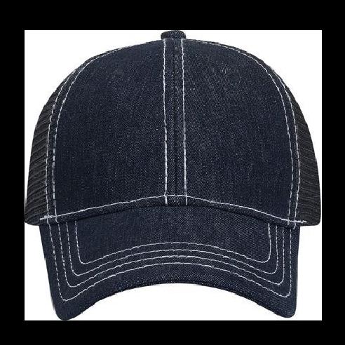 fd1451718 OTTO Denim Six Panel Low Profile Mesh Back Trucker Hat - Pinebeach Inc.